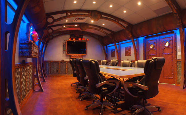 Board room with blue LED cove lighting